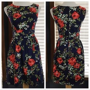 Ixia ModCloth Navy Blue Floral Fit & Flare Medium